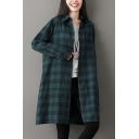 Fashionable Womens Long Sleeve Lapel Collar Button Down Plaid Printed Cutton and Linen Long Oversize Shirt