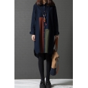 Retro Womens Cool Roll Up Sleeves Lapel Collar Button Down Color Block Curved Hem Midi Oversize Shirt Dress in Navy