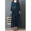Leisure Simple Womens Long Sleeve V-Neck Plaid Pattern Raw Edge Ruched Maxi Swing Dress in Blue