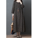 Casual Womens Long Sleeve Round Neck Ditsy Floral Printed Linen and Cotton Maxi Oversize Dress