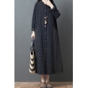 Pretty Casual Ladies Long Sleeve Crew Neck Button Down Checkered Printed Patched Cotton and Linen Maxi Oversize Dress in Black