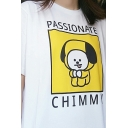 Leisure Cool Boys Short Sleeve Crew Neck Letter PASSIONATE CHIMMY Cartoon Dog Graphic Loose T Shirt