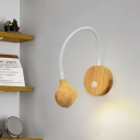 Simplicity Globe Wall Light Wood LED Bedroom Wall Sconce Lighting in White with Curved Arm