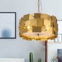Metal Drum Chandelier Light Fixture Modern Style 6-Light Hanging Lamp Kit in Gold for Dining Room