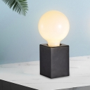 Frosted Glass Orb Table Light Postmodern 1 Head Black/White Nightstand Lamp with Rectangle Marble Base