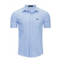 Blue Basic Classic Short Sleeve Lapel Neck Button Down Eagle Embroidered Pocket Patched Slim Fit Shirt for Guys
