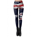 Cool Girls Gym Mid Rise Pentagram Stripe Allover Print Fitted Ankle Stretchy Leggings in Blue