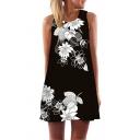 Ladies Stylish Sleeveless Round Neck Flower Printed Short A-Line Tank Dress in Black