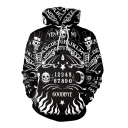 Punk Boys Black Long Sleeve Drawstring Skull Letter GOODBYE Graphic Pouch Pocket Loose Hoodie