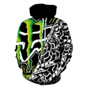 Popular Boys Long Sleeve Drawstring Abstract 3D Print Colorblock Relaxed Fit Hoodie