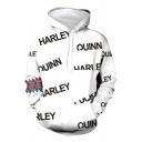 White Fashionable Long Sleeve Drawstring Letter QUINN HARLEY Checker Graphic Kangaroo Pocket Relaxed Hoodie for Men