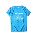Casual Girls Short Sleeve Crew Neck Letter WHATEVER IT TAKES Graphic Regular Fit T-Shirt