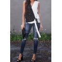 Fashionable Womens Sleeveless Surplice Neck Polka Dot Print Tied Patchwork Relaxed Tank Top in Black