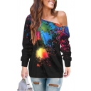 Trendy Girls Long Sleeve Drop Shoulder Splash Ink Loose Fit T-Shirt