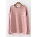 Leisure Womens Long Sleeve Round Neck Letter GOOD LUCK Cartoon Print Relaxed Pullover Graphic Sweatshirt