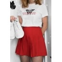 Fashionable Girls Short Sleeve Crew Neck Letter NOTHING LASTS FOREVER Butterfly Graphic Relaxed T Shirt in White