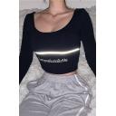 Simple Sexy Ladies Black Long Sleeve Scoop Neck Letter EVERYONE SUCKS BUT ME Reflective Slim Fit Crop T-Shirt in Black