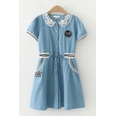 Leisure Fancy Womens Short Sleeve Lapel Neck Button Down Lace Panel Drawstring Waist Striped Embroidered Short A-Line Dress in Light Blue