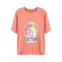 Popular Girls Short Sleeve Round Neck Letter SHE THINK Cartoon Girl Graphic Loose Fit T-Shirt