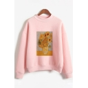 Popular Girls Long Sleeve Crew Neck Oil Painting Print Relaxed Pullover Sweatshirt