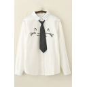 Leisure Womens Long Sleeve Lapel Neck Button Down Cartoon Cat Floral Dog Letter Embroidered Relaxed Shirt in White