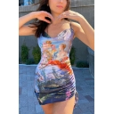 Fancy Womens Blue Sleeveless Cowl Neck Angel All Over Print Drawstring Side Mini Sheath Cami Dress