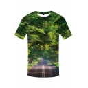 Popular Boys Short Sleeve Round Neck 3D Tree Road Pattern Loose Fit T Shirt in Green