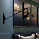 Industrial Wide Flared Sconce 1 Bulb Iron Wall Mount in Black with Long Arm for Corridor