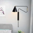 Iron Cone Sconce Lighting Industrial 1-Head Living Room Adjustable Wall Mounted Lamp with Black/Gold/Coffee Backplate and Long Arm