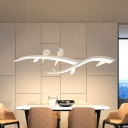Branch Dining Room Pendant Acrylic LED Contemporary Hanging Lamp in White with Bird Decor, White/Warm Light