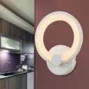 Minimalist LED Sconce Lighting White Halo Wall Lamp Fixture with Acrylic Shade for Bedroom