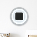 LED Bedroom Wall Light Sconce Modern Black-White Wall Mounted Lamp with Square and Circle Metal Shade