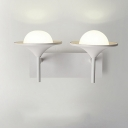 Modernism Flared Sconce Lighting Metallic 2 Heads Bedside LED Wall Mount Lamp in White