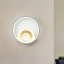 White Ring Wall Mount Sconce Modernist LED Acrylic Wall Light Fixture in White/Warm Light with Wood Detail