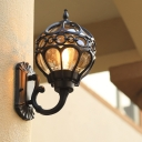 Black/Brass Globe Frame Sconce Light Farmhouse Metal 1-Bulb Outdoor Wall Lamp Fixture with Clear Glass Shade