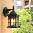 Pavilion Shape Metal Wall Light Fixture Loft Style 1 Head Outdoor Wall Mount Sconce in White/Black/Brass
