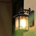 1-Light Sconce Light Fixture Rustic Window Dressing Milk Glass Outdoor Wall Lamp in Black