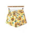 Pretty Summer Ladies Mid Rise All Over Sunflower Printed Rolled Cuffs Relaxed Shorts in Yellow