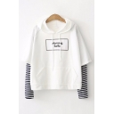 Korean Style Ladies Long Sleeve Drawstring Letter MORNING SELFIE Stripe Panel Pouch Pocket Loose Hoodie