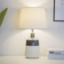 1-Bulb Living Room Desk Light Simplicity White Ceramic Base Designed Nightstand Lamps with Tapered Fabric Shade