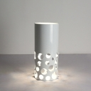Cylinder Night Table Lamp Simplicity 1 Head Tea Room Nightstand Light in White with Hollow Design