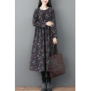 Leisure Popular Ladies Long Sleeve Round Neck Flower Patterned Cotton and Linen Maxi Swing Dress