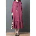 Womens Retro Style Long Sleeve Lapel Neck Button Up Solid Color Ruffled Trim Cotton and Linen Maxi Oversize Shirt Dress