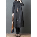 Simple Vintage Ladies Long Sleeve Lapel Collar Button Down Slit Side Solid Color Ruched Maxi Oversize Shirt Dress