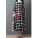 Trendy Black Long Sleeve Hooded Drawstring Plaid Patterned Patched Linen and Cotton Maxi Oversize Dress for Girls