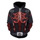 Cool Spider Man Cosplay Costume Long Sleeve Drawstring 3D Octopus Skull Strap Geo Print Pouch Pocket Loose Fit Hoodie in Black