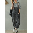 Casual Girls Gray Sleeveless Contrasted Straps Button Front Pockets Side Rolled Cuffs Bleach Ankle Oversize Suspender Jeans