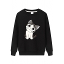 Casual Girls Long Sleeve Round Neck Cat Printed Loose Fit Pullover Sweatshirt