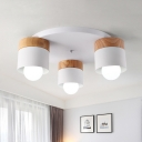 Drum Flush Mount Lighting Minimalist Metal 3 Lights White Finish Ceiling Mounted Light for Bedroom
