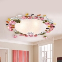Pink 3/5 Heads Ceiling Lighting Romantic Pastoral White Glass Bowl Flush Mount Spotlight with Rose Design, 23.5